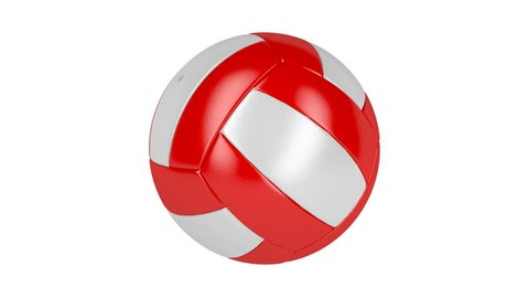 Red and white volleyball ball spin on white background