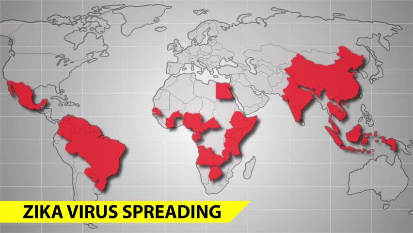 Zika Virus Spreads World Map. Stock Footage Video (100% Royalty-free) on japanese encephalitis map, yellow fever map, powassan virus map, west nile virus map,