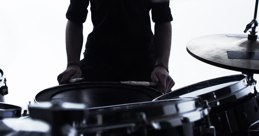 Close Up Of Drummer Playing Drum Solo In Studio Shot On R3D