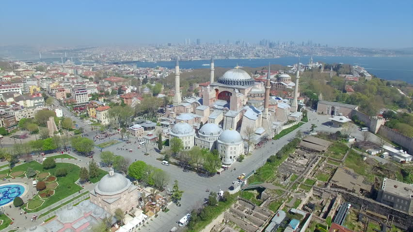 Blue Mosque and Hagia Sophia - panoramic aerial view from drone of famous landmarks in Istanbul, Turkey.