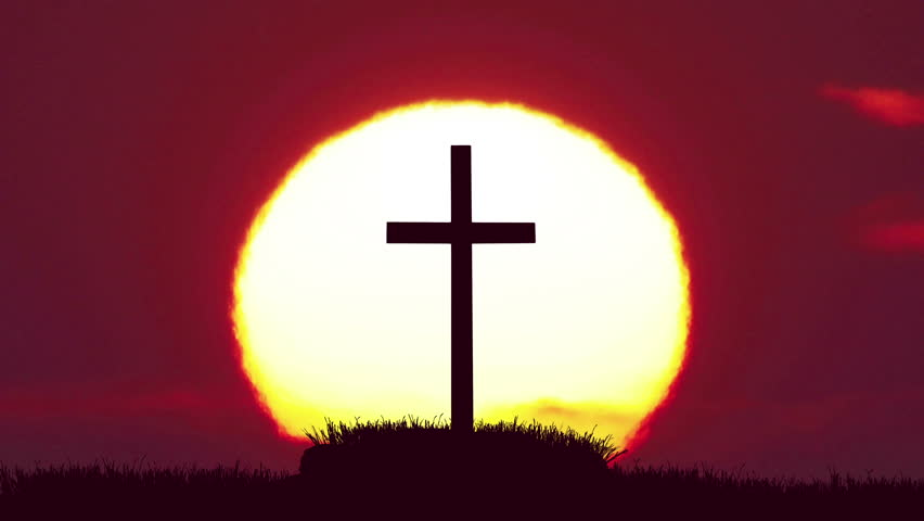 5 in 1 video! The cross on the background of sunrise. Real time capture #16715965