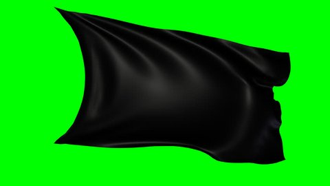 Animated black flag waving in the wind, loopable footage. Png animation file with alpha channel included.