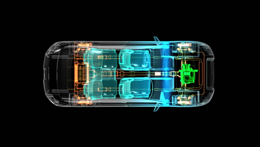 Automobile Technology. Drive shaft system, Engine, interior seat. X-ray Top view.