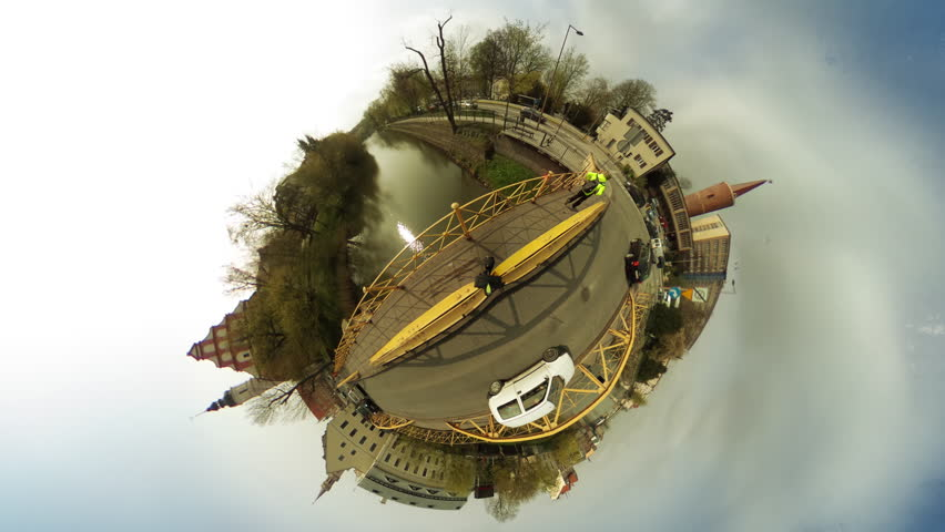 Walking People, Pedestrians on a Bridge, Cars Are Moving , vr Video 360, Little Planet Video, Video For Virtual Reality, Time Lapse, Panoramic View Bridge Through River, Transports Driven by a