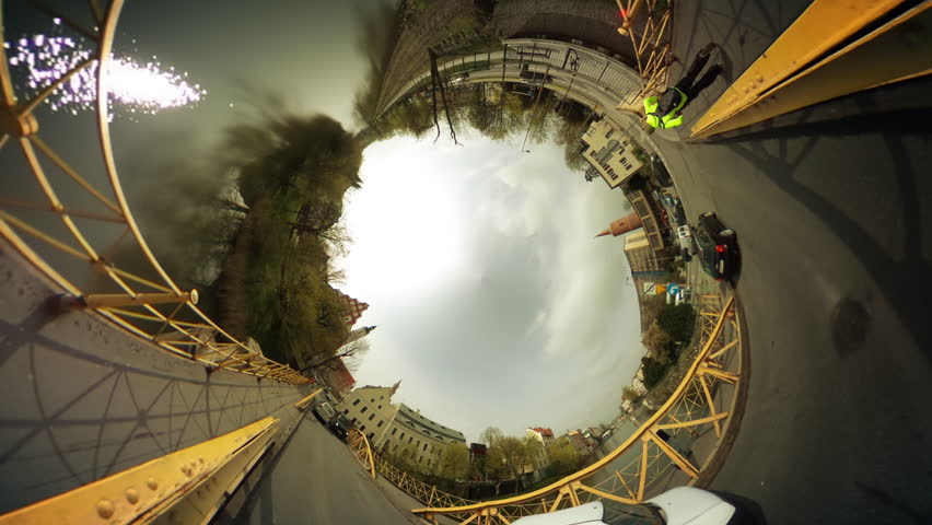 Walkers, People and Cars on a Bridge Through River, Vintage Buildings, Cityscape, vr Video 360, Little Planet Video, Video For Virtual Reality, Time Lapse, Yellow Rails of the Bridge, Cars Are Driven