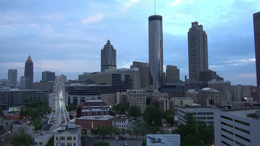 Atlanta Downtown skyline in the evening - aerial shot - ATLANTA / GEORGIA - APRIL 22, 2016