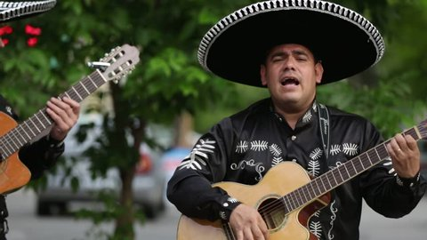 Mexican musicians mariachi on the street