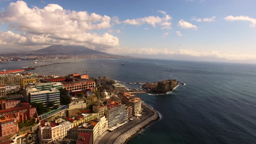 Naples - 25 FEB: Aerial view of the Gulf of Naples with the Castel dell'Ovo on 25 February 2016 in Naples, Italy | Shutterstock HD Video #16815055