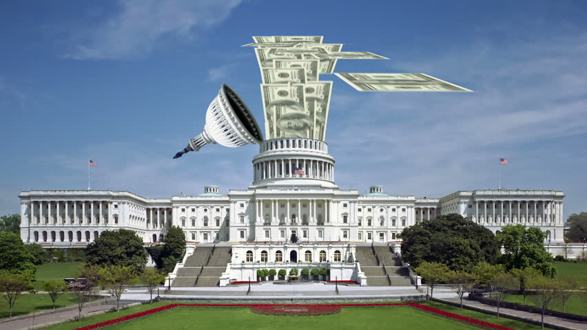 Tax money pouring into the federal government (Capitol Building in Washington, DC). Perfect for videos about: tax, taxes, taxation, revenue, IRS, spending, national debt, congress, fiscal policy. | Shutterstock HD Video #16842865