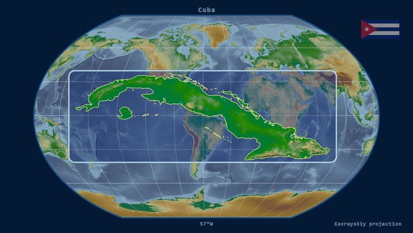 Zoomed-in view of a Cuba outline with perspective lines against a global physical map in the Kavrayskiy VII projection | Shutterstock HD Video #16844905