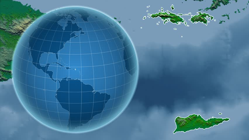 Belize Shape Animated On The Physical Map Of The Globe Stock