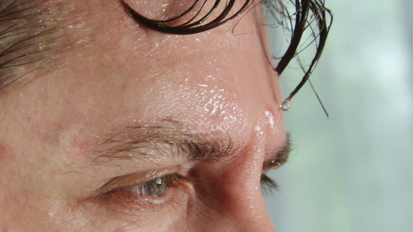 Face of very sweating man