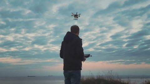 Custom drone hexacopter flies in the sky