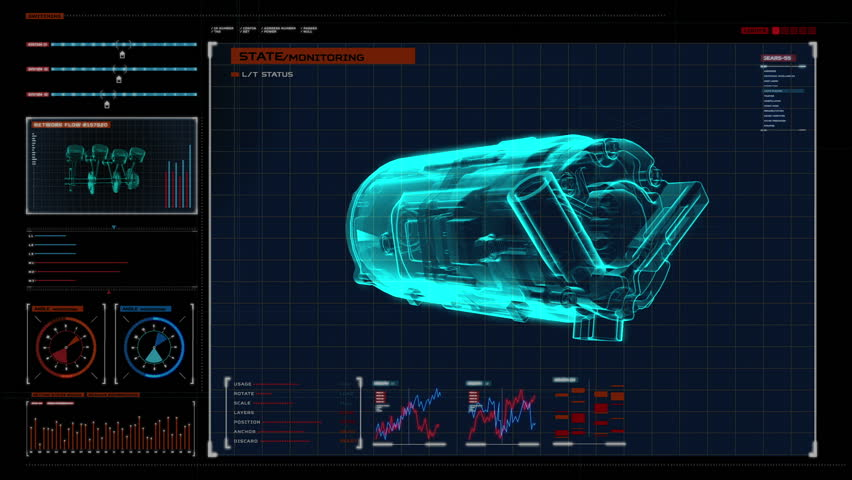 Automobile Technology. car compressor  X-ray image 360 degree view.animation in digital display panel. user interface.3D illustration,3D rendering.
