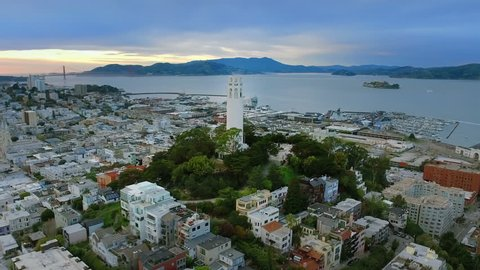 Aerial view of The Coit Tower. San Francisco, California. USA. Shot from helicopter.