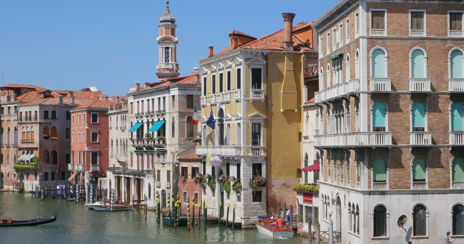 Venice Italy Architecture gondola and boat on canal - venice, venezia stock footage video