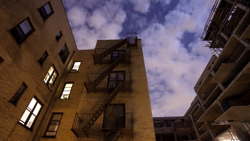 Brooklyn Apartment Building At Night Timelapse Stock Footage Video