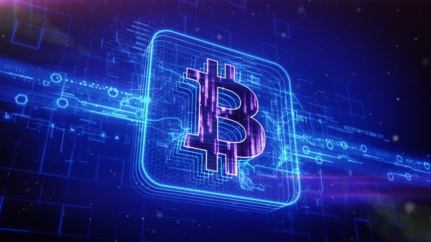 Abstract animation of bitcoin currency sign in digital cyberspace | Shutterstock HD Video #16914442