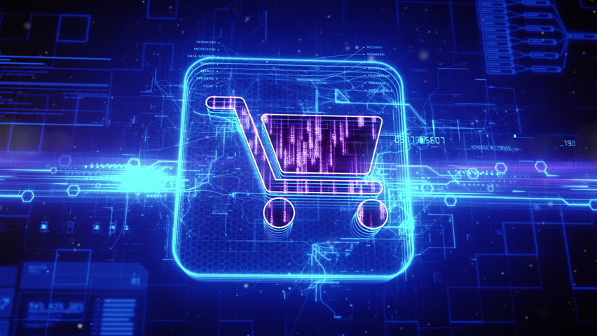 Abstract animation of shopping cart icon in digital cyberspace