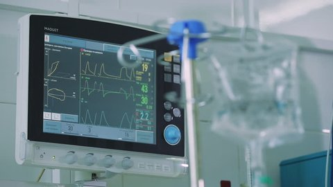 Drip on the background of Heart EKG monitor