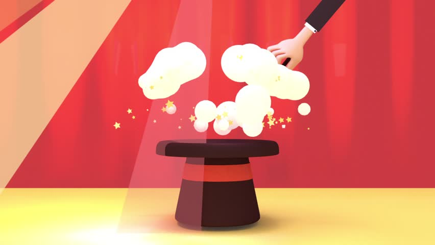 3d rendering cartoon magician making magic spell with magic wand. Comic toon explosion and smoke fx. Ideal motion graphic animation for logo revealer, film intro and video opener.