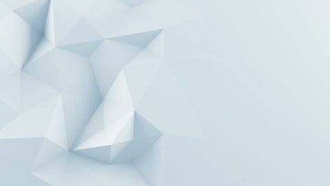 White polygonal shape. Abstract 3D render background. Computer generated seamless loop animation 4k UHD (3840x2160)
