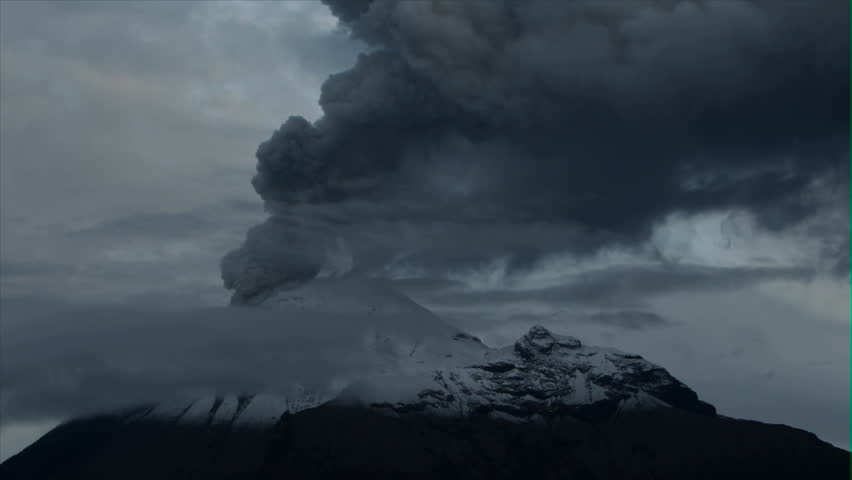 Tungurahua volcano in Ecuador, high presure gases and ash is blown into the sky, morning timelapse