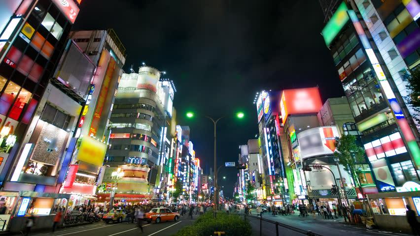 Shinjuku neon strip time lapse Tokyo (logos blurred)