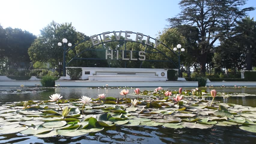BEVERLY HILLS, USA - MAY 30, 2016: Iconic Beverly Hills sign, a famous landmark of Los Angeles, on May 30, 2016 (Unedited, quality lossless footage right from the camera).