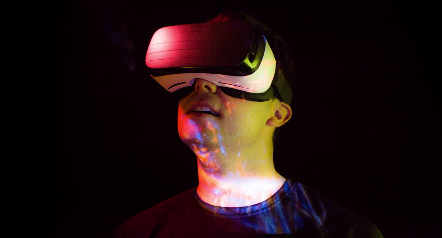 Man Virtual Reality Console Headset Play 3D Gaming Innovation Internet Entertainment Technology Surprised Fun Videogame Futuristic Watching Leisure Footage Hitech Device Recreational Amazing Scared