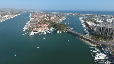Aerial view of Newport Beach Harbor with Lido Island front and center. Fly over of Lido Island in the Harbor of Newport Beach, California, USA