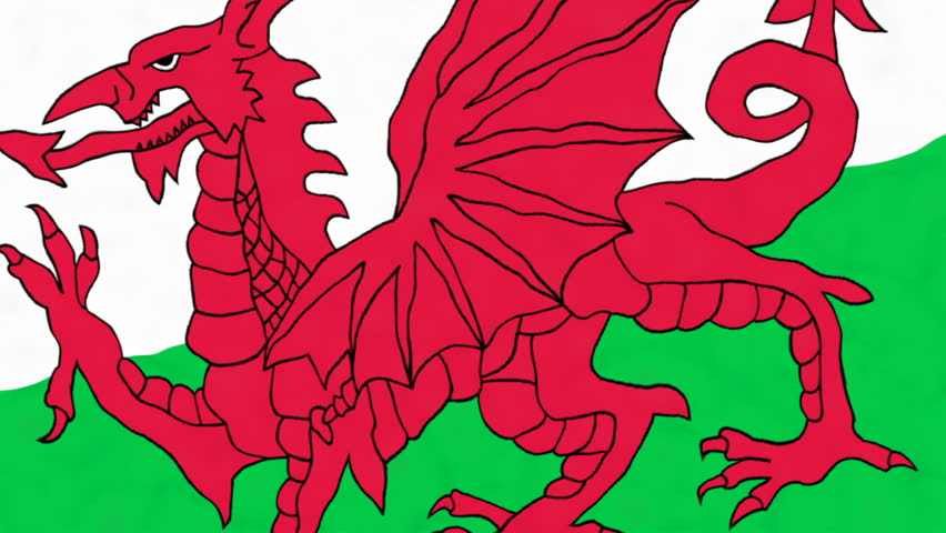 4K 3D Animation Of Red, Dragon, Green And White Wales Welsh Flag ...