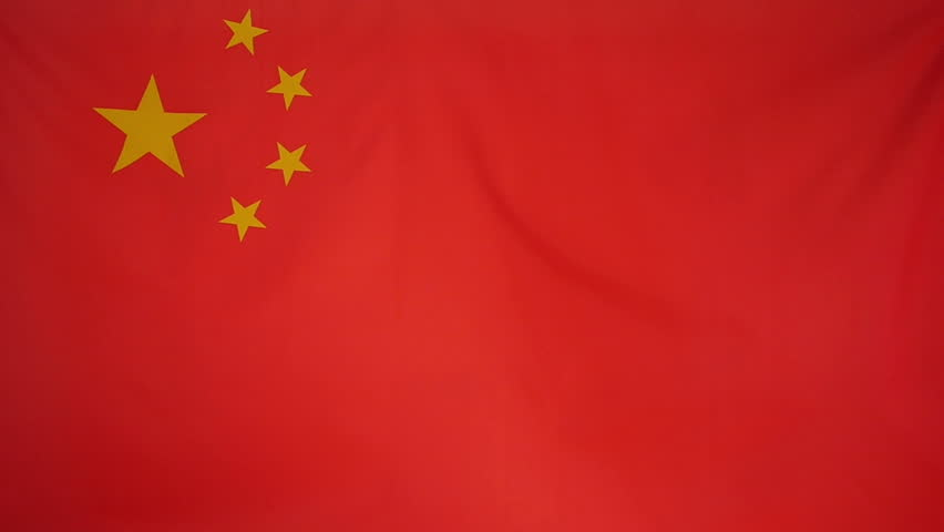 textile flag of china with wind blowing though the real fabric