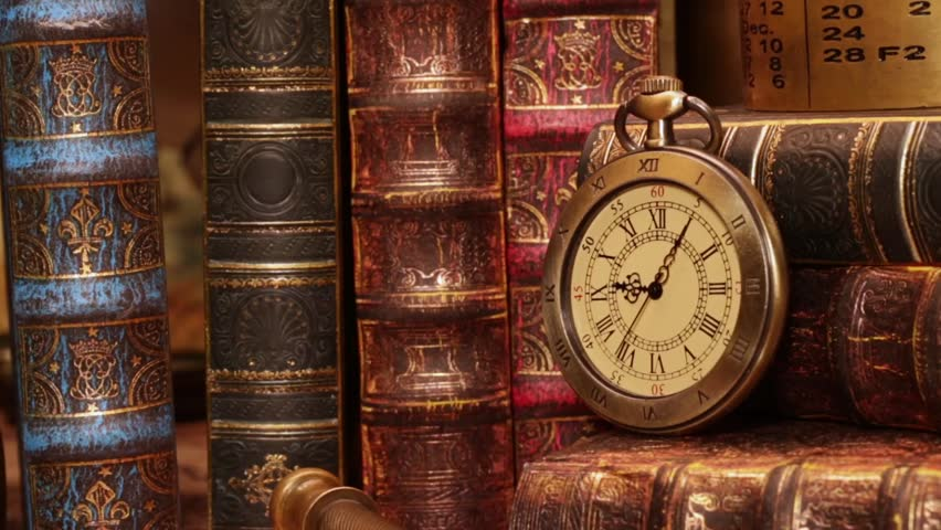 Vintage clock on a book old world map in 1565 royalty free video old world map in 1565 gumiabroncs Gallery