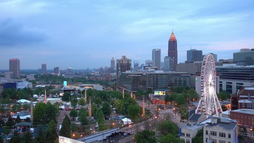 Downtown Atlanta From A Distance Right Before Nightfall Stock - Distance to atlanta georgia