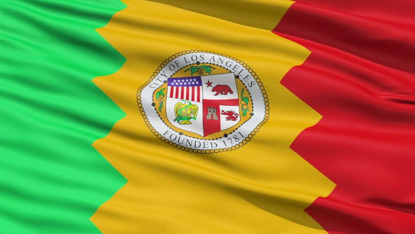 LA Los Angeles Waving American State Capital City Flag Animation