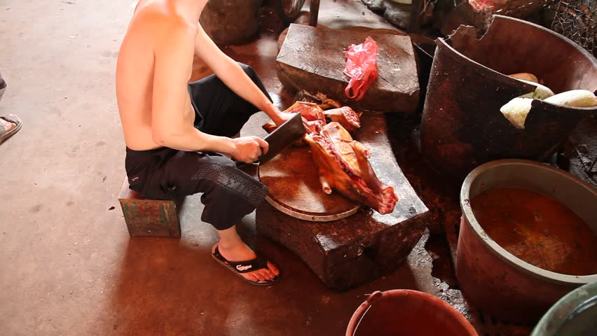 Cooked dog meat
