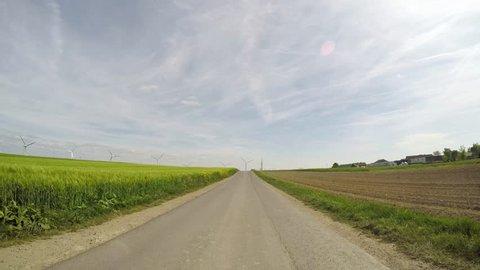 4K POV video footage of driving on a farm track in Germany (region Eifel)