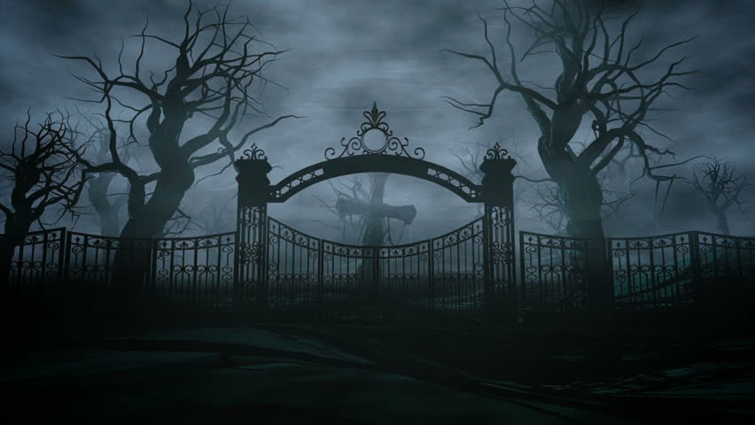 Horror Night Cemetery Grave Moonlight Halloween Concept 3d