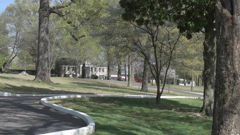 MEMPHIS, TENNESSEE - APRIL 09, 2016: Elvis Presley Mansion and Garden in Graceland, Memphis.