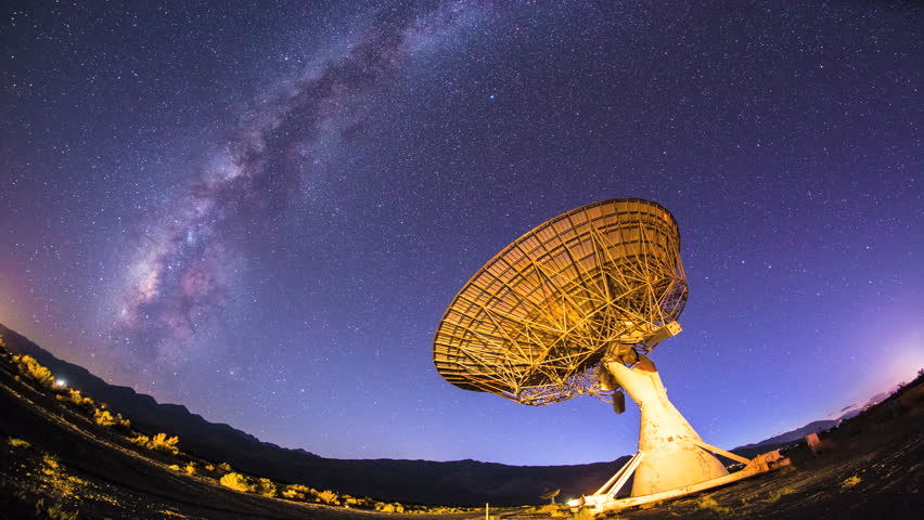 4K Milky Way Galaxy Timelapse Night Sky Satellite Dish