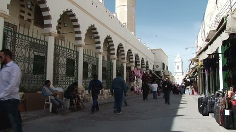TRIPOLI/LIBYA - 31ST OCTOBER 2010: People in the narrow streets of the Medina of Tripoli, Libya