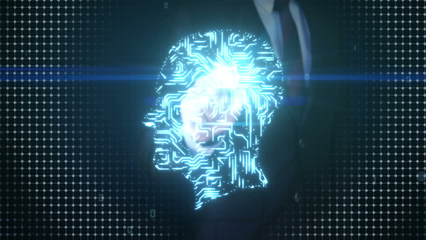 Businessman touching shape of brain head, connect digital lines, expanding artificial intelligence | Shutterstock HD Video #17202085
