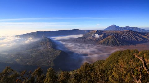 4K Panning timelapse Of Bromo volcano at sunrise, East Java, Indonesia