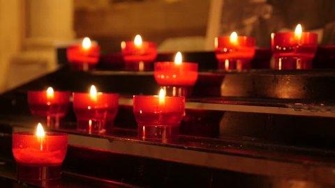 Slow Motion Prayer Votive Candles Stock Footage Video (100