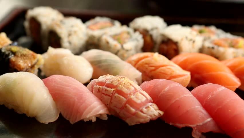 Variety of sushi . Macro shot of sushi