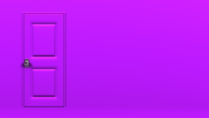 Purple Door With Text Space And Dark Room. Abstract 3DCG Render Animation.