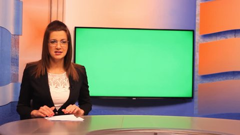 TV presenter happy mood ,Green screen television live news