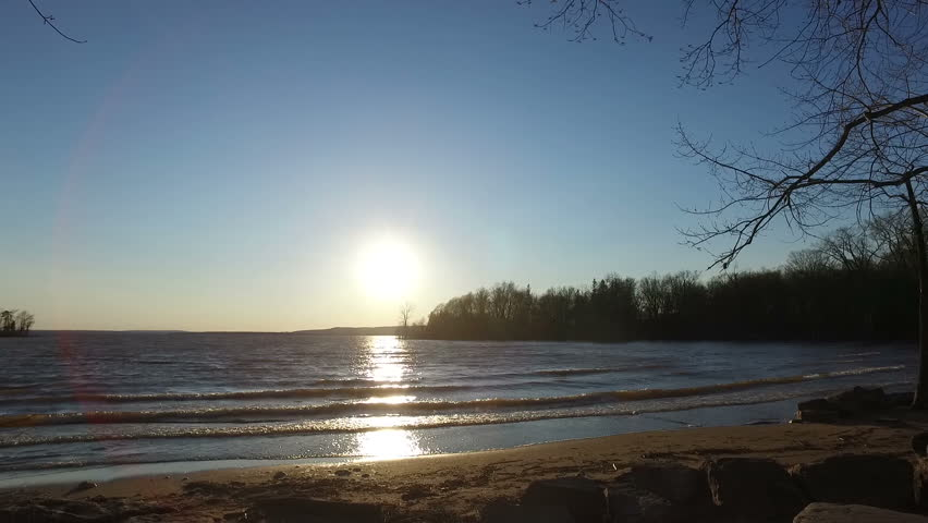 Cinematic & Peaceful Beach Scenery During Spring Season // Cap Saint-Jacques Beach in Montreal, Canada  | Shutterstock HD Video #17278975