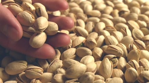 Pistachio fall down and fill the space frame. From palm of hand poured pistachios. 2 Shots. Slow motion. Horizontal pan. Close-up.